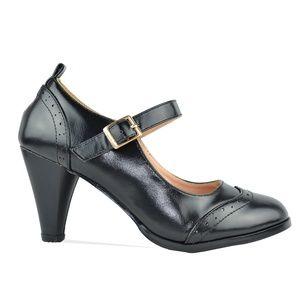 Women's Black Mary Jane Retro Heeled Pump